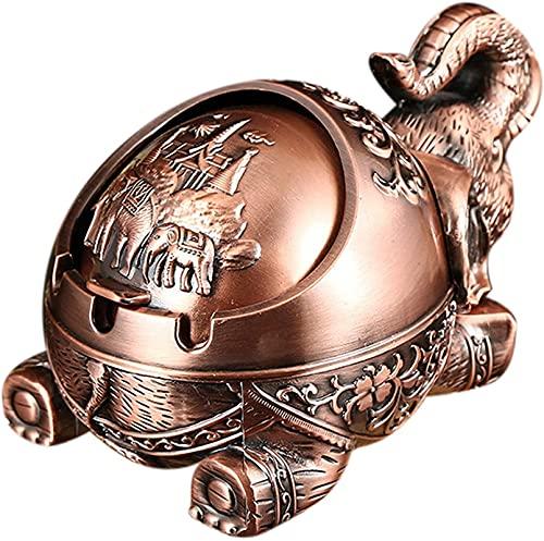 Cenicero creativo Elefante en forma de metal Sello de metal con tapa anti-caída A prueba de viento Personalidad Decoración del hogar Ornamentos