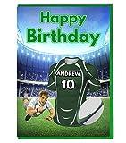 Maillot de rugby carte d'anniversaire–London Irish Couleurs–personnalisé avec un nom et numéro