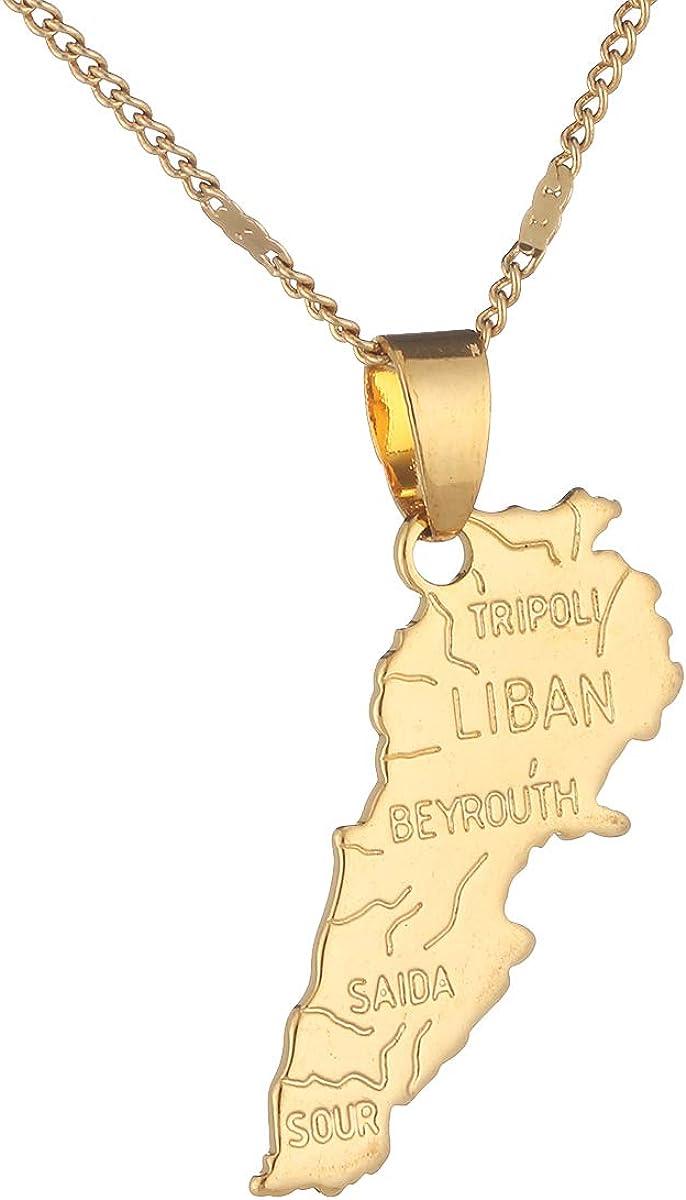 Liban Map Necklace Pendants Chain Women Men Gold Color Jewelry Lebanon Map Lebanese Jewelry