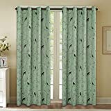 Blockout Curtains for Bedroom/Living Room Printed Pattern Blackout Curtain Draperies, Classic Eyelet Modern