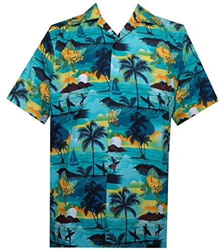 ALVISH Hawaiian Shirt 43 Mens Allover Scenic Party Aloha Holiday Beach Turquoise XL