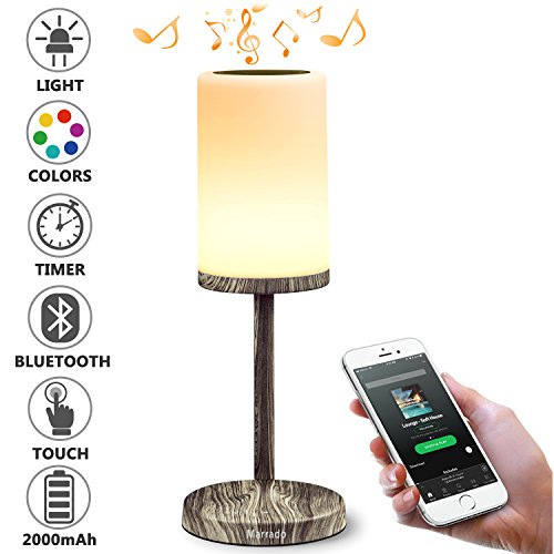 Marrado Bedside Lamp with Bluetooth Speaker | Color Changing LED Mood Light | Wooden dimmable Touch Smart Table Lamp for Bedroom | Best Gift for Teenage College Teens Children Kids Men Women Adults
