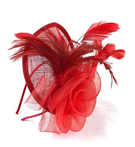 Différentes formes 3D grand® Rouge Chapeau Bibi mariage Mesdames Jour Race Royal Ascot