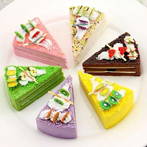 Karazhan - Triángulo artificial realista para tartas, varios modelos de tartas falsas para decoración del hogar (color menta)