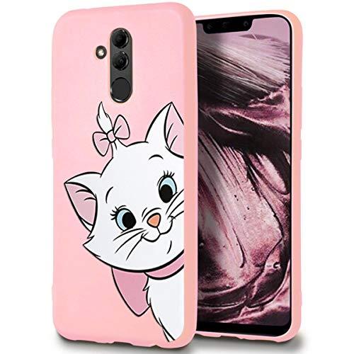ZhuoFan Cover Huawei Mate 20 Lite, Custodia Cover Silicone Rosa con Disegni Ultra Slim TPU Morbido Antiurto 3D Cartoon Bumper Case Protettiva per Huawei Mate 20 Lite, Gatto