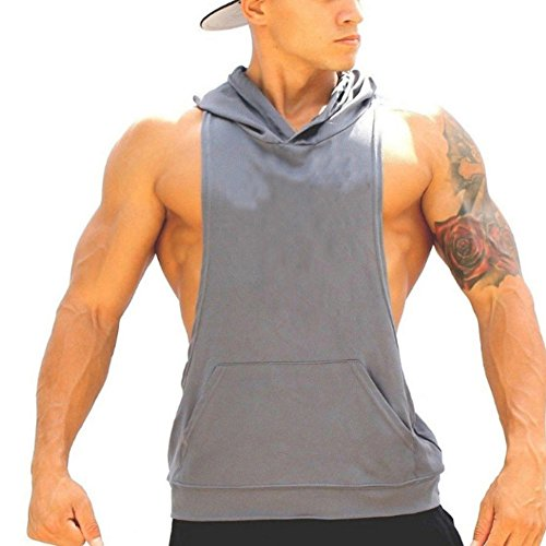 ZUEVI Men's Cotton Contast Pocket Lifting Muscle Tops Gym Bodybuilding Lifting Sport Athletic Sleeveless Hoodies(Gray-M)