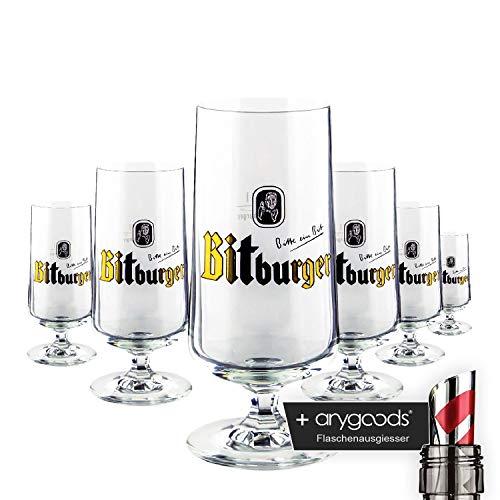 6 x Bitburger Glas/Gläser 0,1l seltenes Bierglas Gastro Bar Deko NEU + anygoods Flaschenausgiesser
