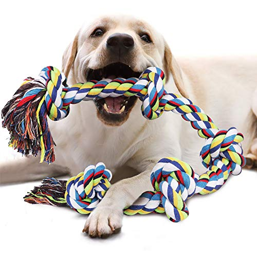 Juguetes de para perros, Juguete para masticar con 5 nudos para los que mastican con agresividad, cuerda interactiva para perros de razas grandes, Cuerdas XXL de 92cm para perros grandes y fuertes