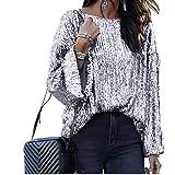 Camiseta de manga larga con lentejuelas y cuello redondo suelto para mujer