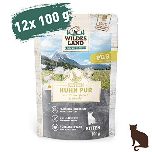 Wildes Land | Nassfutter für Katzen | Nr. 7 Huhn PUR für Kitten | 12 x 100 g | Nassfutter für Jungtiere | Getreidefrei & Hypoallergen | Extra viel Fleisch
