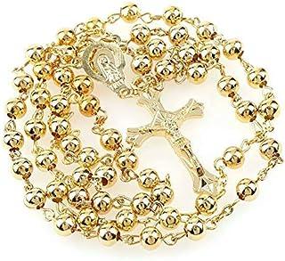 e7d163594f97 Rosario de perlas de oro bisuteria con cruz para oraciones 6mm