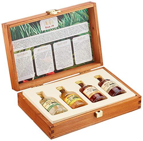 Rhum J.M. Probier- und Geschenkset: 4 x 50 ml in hochwertiger Holzkiste | Rhum Blanc Agricole, J.M. Gold Rum, Rhum Vieux Agricole VSOP, Rhum XO Tres Vieux | Rum Geschenkset & Probierset | 50 {3b6d51442f025f11fb692897fa07297e8896d6e9afeac58f04d4a3041e565494} vol.