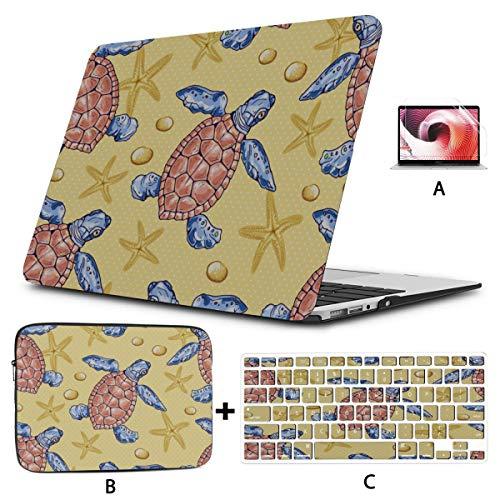 Mac Book Air Cover Cute Cartoon Deep Ocean Sea Turtle Macbook Protector Hard Shell Mac Air 11'/13' Pro 13'/15'/16' With Notebook Sleeve Bag For Macbook 2008-2020 Version