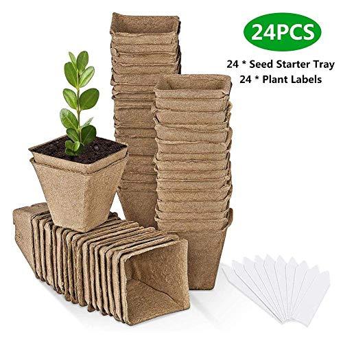 HAOT Macetas de turba de 24 macetas Macetas de Inicio de Plantas biodegradables orgánicas Macetas de Fibra ecológica, Maceta de vivero para cultivadores de Semillas