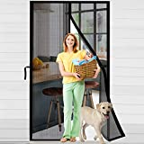 ACMETOP Magnetic Screen Door 38' x 83', Upgraded Fiberglass Mesh Screen Door with Handy Hasps, Door Screen with 36 Magnets & 6 Weighted Sticks, Full Frame Hook & Loop Fits Door Size Up to 38' x 83'