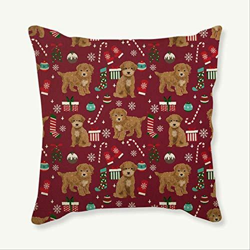QIANGST Hond Kerstmis decoratieve kussensloop kussensloop schattige puppy's Kerstmis wooncultuur katoen linnen ruimte Cojines Almofadas