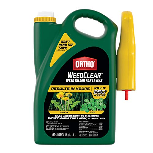 Ortho 0205810 WeedClear Weed Killer for Lawns: Ready, Trigger Sprayer, Won't Harm Grass (When Used as Directed), Kills Dandelion & Clover.5 gal, clear