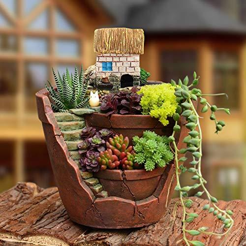 FairytaleMM Vaso di Piante Creative con Città di Cielo Vaso di Fiori Combinazione Resina Vaso di Piante grasse Cesto di Fiori Vaso di fioriera, terroso