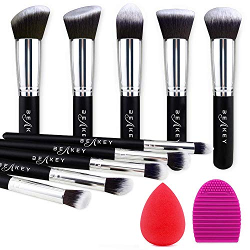 Pennelli Make Up BEAKEY Premium synthetic pennelli trucco fondazione cipria fard, ombretto, Set di pennelli make up, kit con spugnetta e Brush Egg (10 + 2 pezzi, nero/argento)