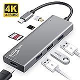 Swonuk USB C HUB HDMI 4K, StillCool 7-in-1 Type C Adapter mit 3 USB 3.0 Anschlssen, Fast Charge...
