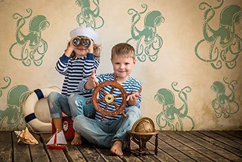 Oktopus Schablone Nautisch unter See Heim Dekoration Kunst Handwerk Schablone/Schablone Verschiedene Größen Farbe Leinen Kunst, Wände, Stoffe, Möbel Wiederverwendbare Schablone - S/ 17X24CM