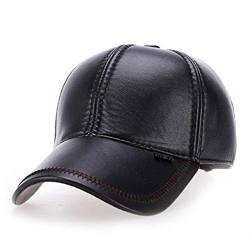Boné VORON 2021 novo de Alta qualidade Do Falso inverno chapéu de Couro genuíno chapéu de couro boné de beisebol ajustável para homens chapéus pretos (Preto)