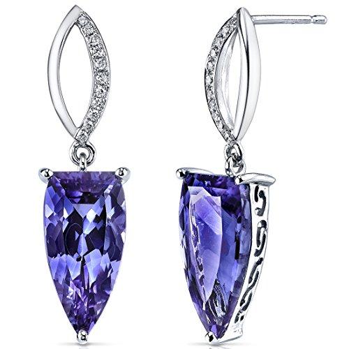 Revoni 14 Karat Weissgold Halb Marquise Alexandrit Diamant Ohrringe (7.69 Karat Gesamtgewicht)