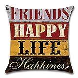 HZDHCLH 4er Set Kissenbezug kissenhülle 45 x 45 cm aus Baumwolle und Leinen Kissenbezüge für Sofa Gartenbett Outdoor Sofakissen Wohnzimmer (Haus & Love) - 4