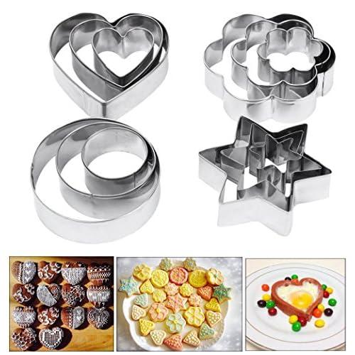 Amison, stampi per biscotti, 12pezzi di metallo, forme: cuore stella cerchio e fiore