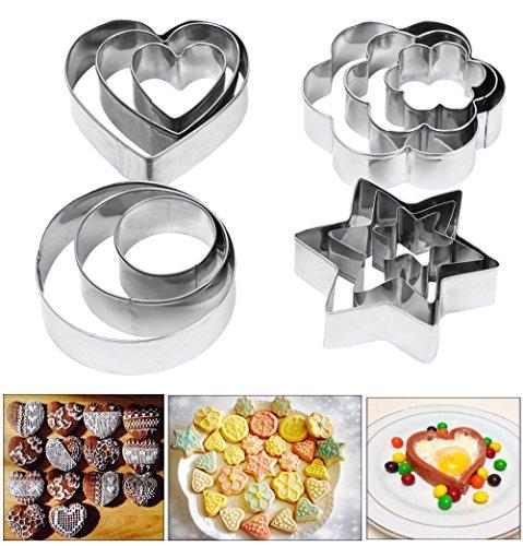 Amison Cortadores de repostería de metal con formas de corazón, estrella y flor para galletas, 12 piezas