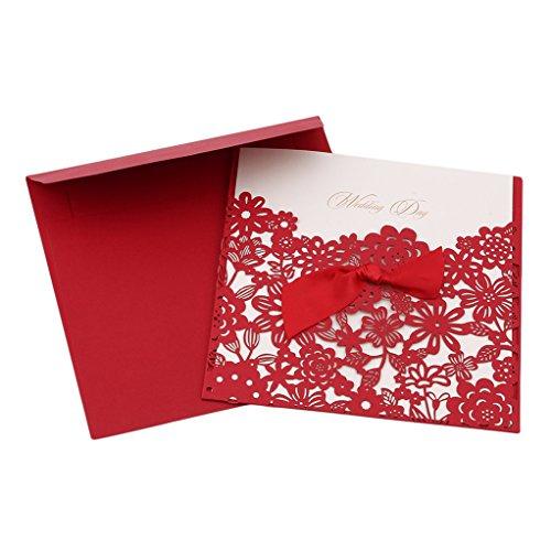 SEVENHOPE 25 Stück Rot Hochzeit EinladungsKarten Geburtstag Taufe Party Glückwunsch Einladung Karten Elegant Band Schnittblume Design mit Umschläge