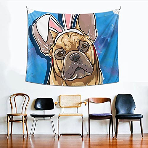 French Bulldog Frenchie Tapestry Bedspread Pet Animal Wall Cloth Polyester Beach Mat Printed Room Decor Picnic Rug Yoga Mat 150x100cm