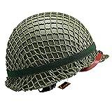 Kayheng WW2 US Army M1 réplica de Casco Acero Verde con Cubierta de Malla Casco táctico Airsoft Paintball