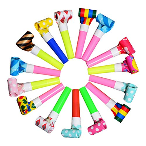 Toyvian 20 Stück Kids Party Blowouts Geburtstagsfeier Pfeifen Krachmacher Kinder Party Supply (Zufälliges Muster)