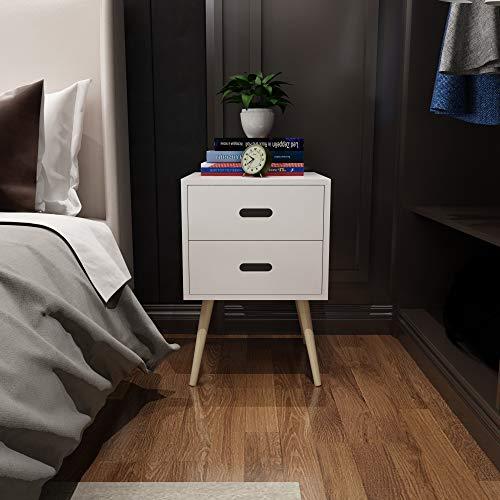 woodluv Modern 2 Drawer Bedside Side End Table Nightstand Bedroom Living Room Storage Unit - White