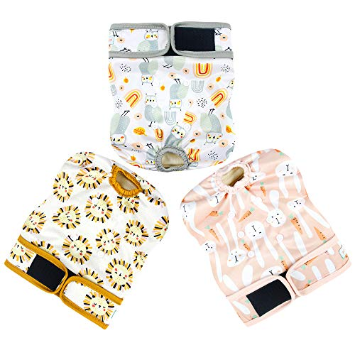 Langsprit Washable Female Dog Diapers (3 Pack) - No Leak Reusable Diapers for Doggy Female in Period - Highly Absorbent Dog Heat Panties with Adjustable Snaps (Rabbit, Owl,Lion, X-Large)