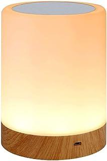 IWILCS Lámpara LED para mesita de noche, luz de ambiente, recargable por USB, modo de cambio de color RGB, para niños, dormitorio, camping