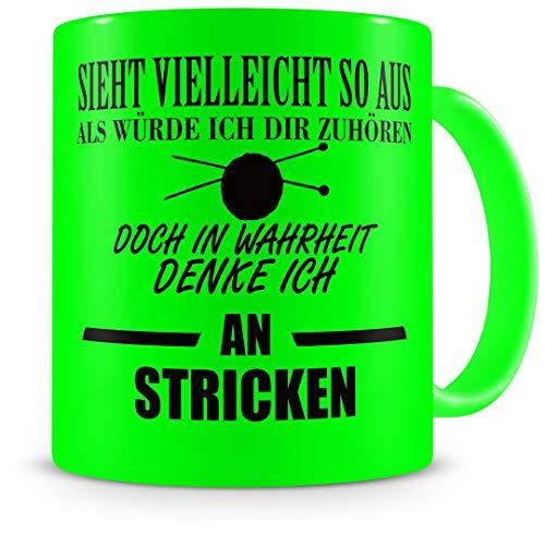 Samunshi® Stricken Tasse mit Spruch Geschenk für Mann Frau Oma oder Opa Kaffeetasse groß Lustige Tassen zum Geburtstag neon grün 300ml