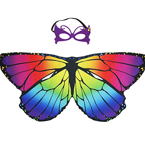 Kids Butterfly Wings Costume for Girls with Dress Up Mask, Fairy Princess Role Play Party Favors (Rainbow 1)