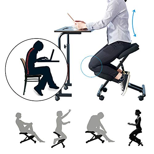 BonChoice Ergonomic Kneeling Chair Adjustable Angle & Height, Metal Posture Chair Orthopaedic Stool with Foam Padded Seat for Home Office Black