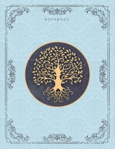 Notebook Golden Hand Drawn Tree Life Luxury Pattern Light Blue Background Cover Lined Journal: College Ruled 110 Pages - Large 8.5x11 inches (21.59 x 27.94 cm), A4 Size