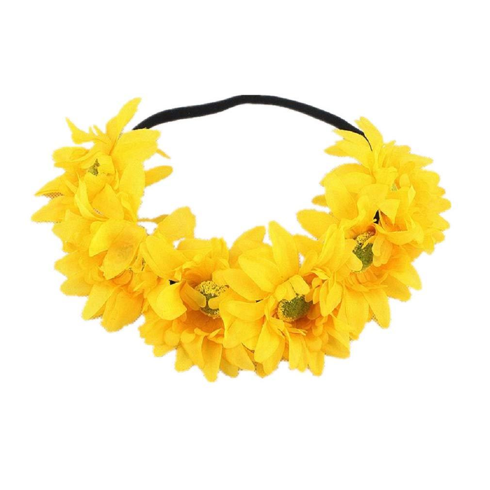Hawaiian Sunflower Crown Tropical Luau Wreaths Stretch Floral Headband Leis Garland Headpiece for Summer Beach Pool Party Decorations Favors Supplies