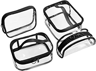 Waterproof Travel Storage Bags Clear Luggage Organizer Pouch Packing Cube Clothing Sorting Packages Pack of 4pcs Clear