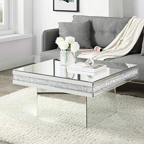 Coffee Table Mirrored with Crystal Inlay Surface, Square Silver Accent Table, Modern Design Luxury Contemporary Furniture, Fully Assembled for Living Room from Mireo Furniture