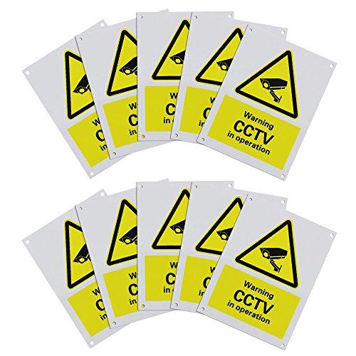 GOLRISEN Cartel Videovigilancia 10 * 7,5 cm, 10 unids Cartel de Grabación Interior/Exterior, Señal Videovigilancia, para Instalarlos en la Pared o en la Puerta de La Zona de Videovigilancia, Amarillo