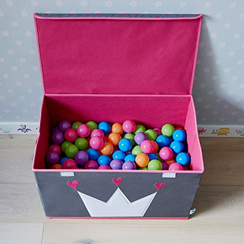 Store It 670407 Spielzeugtruhe, Polyester, Krone - grau/weiß/pink, 62 x 37,5 x 39 cm - 6