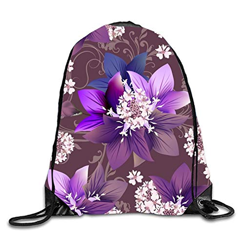 Lsjuee Purple Flowers Sackpack Drawstring Backpack Waterproof Gymsack Daypack for Men Women