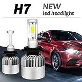 2 x H7 LED Para Auto Car Lampe Feux Conversion Ampoule Light 6000K 8000LM, Faros de Luz Alta o Luces Bajas Para Automóviles - 3 ans de garantie