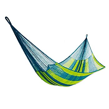 NOVICA Bright Yellow Turquoise Blue Striped Hand Woven Nylon Mayan 1 Person Rope Hammock with Hanging Accessories Fluorescent Tropics   Single