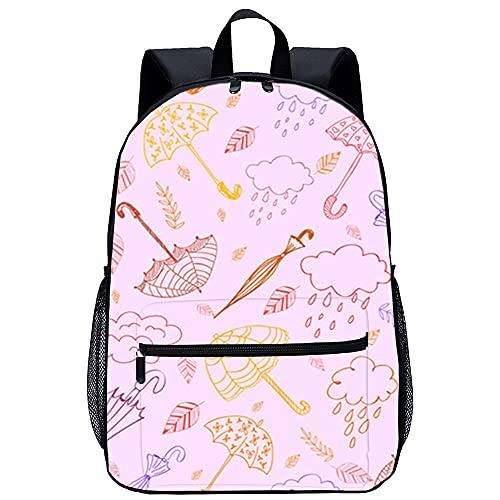 WBLWBL Niños preescolar mochilas paraguas y nubes 31 * 14 * 45 cm bolsa resistente al agua se adapta a hombres mujeres niños unisex